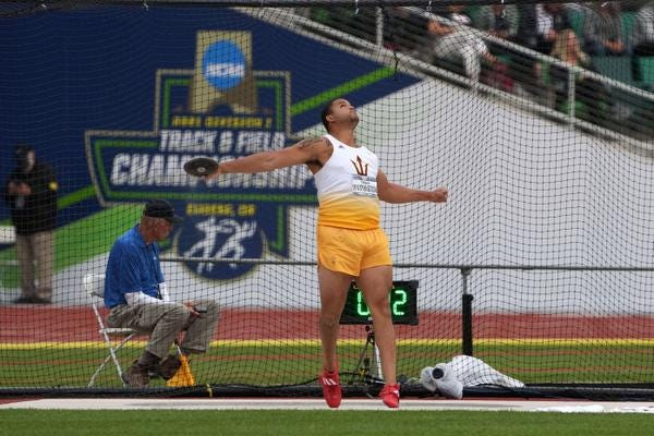 Jun 11, 2021; Eugene, Oregon, USA; Turner Washington of Arizona State wins the discus with a throw of 208-1 (63.42m) during the NCAA Track and Field Championships at Hayward Field. Mandatory Credit: Kirby Lee-USA TODAY Sports