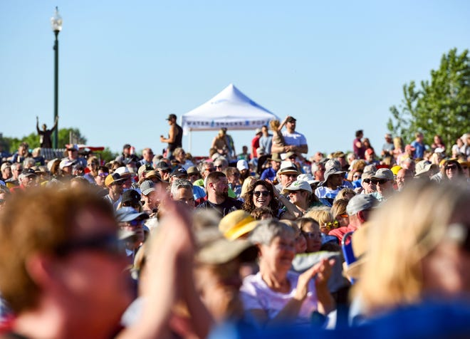 A full crowd listens to the first concert of the 2021 Levitt season on Friday, June 11, 2021, at the Levitt Shell in Sioux Falls.
