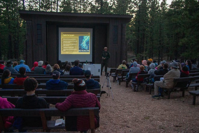 Rangers at Bryce Canyon National Park held presentations at the Sunrise Point Amphitheater Thursday on everything from planets to black holes to birds as part of the park's annual Astronomy Festival. More than 50 people showed up for the evening program, bundled in blankets and coats to combat the high-elevation nighttime cold.