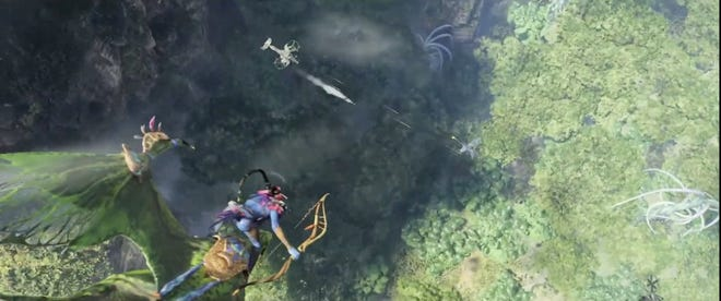 A screen shot from the reveal trailer of the video game 'Avatar: Frontiers of Pandora' coming in 2022.