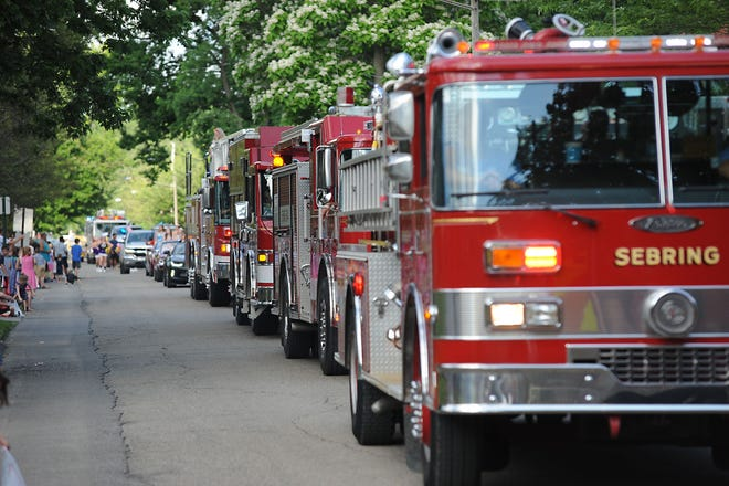 Sebring's Fireman's Festival Parade drew a large crowd Friday, June 11, 2021, as emergency equipment and first responders took part and received cheers from those on hand.