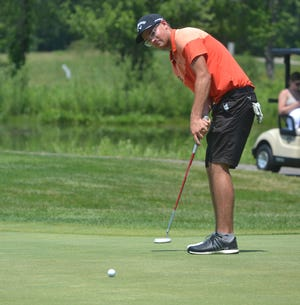 Cheboygan sophomore PJ Maybank III putts during the second round of the MHSAA Division 3 boys golf state finals held at The Meadows at Grand Valley State University on Saturday.