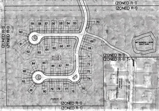 Phases 3 and 4 of Spruce Hill Crossings will consist of 36 lots. Spruce Hill Drive will extend from the top of the map to the lower cul-de-sac, while Kelley Drive will be the street leading to the upper cul-de-sac. Isabelle Lane is to the right and I-271 to the far right.