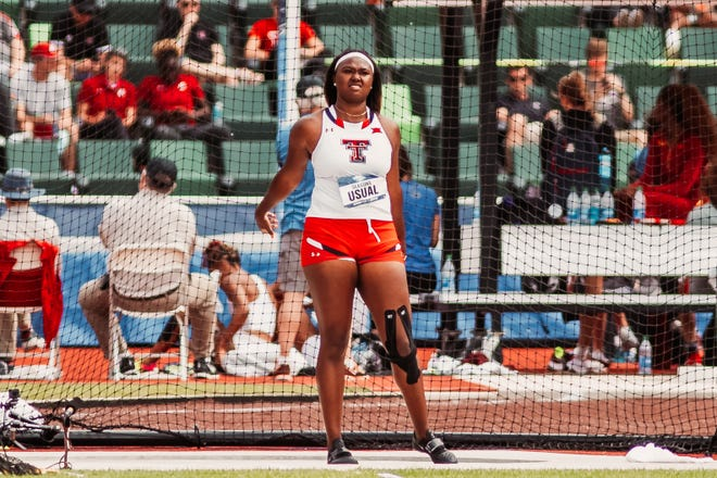 Texas Tech's Seasons Usual finished third in the women's discus Saturday at the NCAA outdoor track and field championships in Eugene, Oregon. Usual is among 18 current and former area track and field athletes scheduled to compete in the 10-day U.S. Olympic Trials that start Friday, also at Hayward Field in Eugene.
