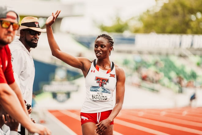 Texas Tech's Ruth Usoro won the women's triple jump Saturday at the NCAA outdoor track and field championships in Eugene, Oregon. Usoro won the triple jump at the NCAA indoor championships earlier this year.
