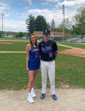 Blue Devil Athletic Scholarship winners Eliza Howlett, left, and Evan McCarthy.