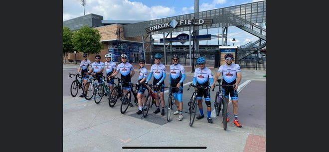 Former Tulsa city councilman Eric Gomez, third from right, is a co-founding member and co-captain for Team Suicide Prevention Cycling. Gomez, who has also developed property in Pawhuska, recently shared plans for a nationwide advocacy effort in  conjunction with Mental Health Month in May. Team Suicide Prevention is to compete June 19 in the 3,100-mile bicycle race, The Race Across America, which traverses the United States from the West Coast to Annapolis, Maryland. Team Suicide Prevention will be racing to spread hope and save lives while raising awareness, as well as funds for several organizations.
