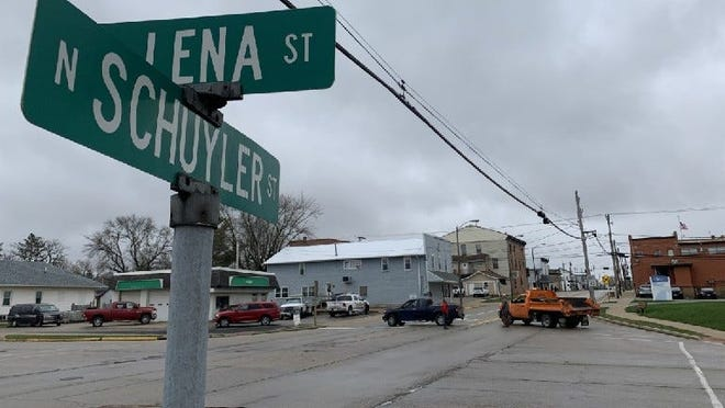 Businesses in downtown Lena were placed on lockdown Friday, April 9, 2021, after police entered into a standoff with an armed man outside of Citizens State Bank.