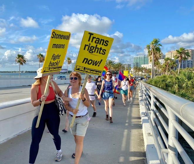 LGBTQ+ protest heading across Ringling Bridge on the 5th anniversary of the Pulse massacre.
