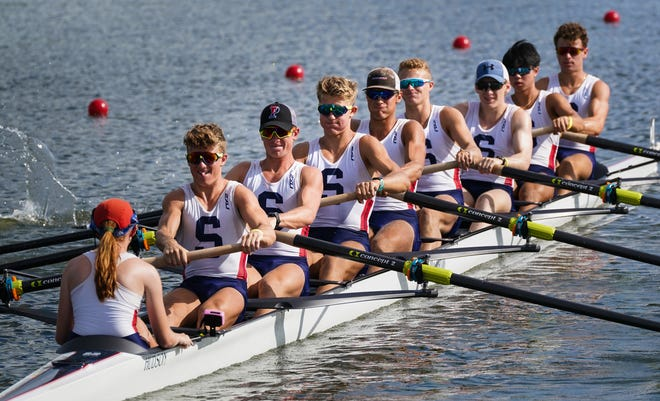 The Sarasota Crew 8+ rowers compete in the final of the the USRowing Youth National Regatta at Nathan Benderson Park in Sarasota on Sunday. More than 2,800 young athletes from across the United States competed in the four day event.