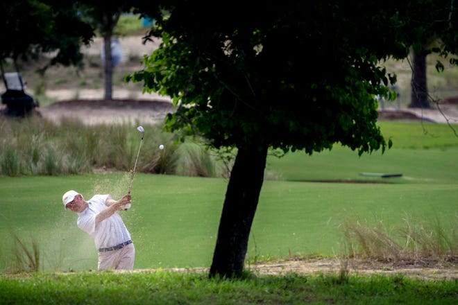Bo Van Pelt hits out of a bunker on the 16th fairway during the final round of the Palmetto Championship golf tournament in Ridgeland, S.C., on Sunday, June 13.