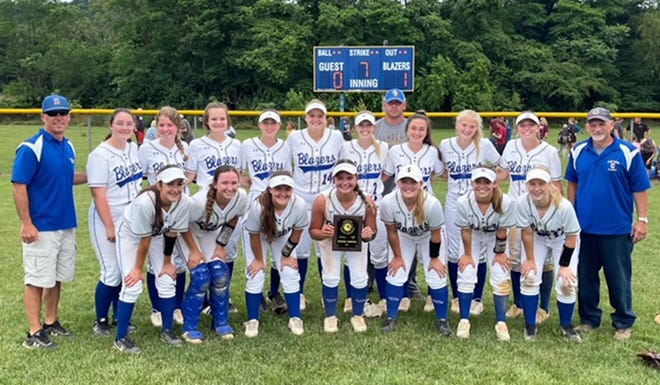 The Clear Spring Blazers defeated Brunswick 1-0 for the 1A West Region II softball title Saturday. From left to right: Front row —Dana Hammond, Kae Compton, Hailey Ernst, Chloe Hess, Abby Byers, Ally Weaver and Lanie Weaver. Back row —head coach Chris Weaver, Lilly Bragunier, Kayle Vanderford, Josie Watkins, Kae Buchanan, Faith Moore, Chloe Mills, assistant coach Sam Hess, Alyssa Fisher, Serenity Anderson, Sarah Greenlee and assistant coach Craig Elwood.