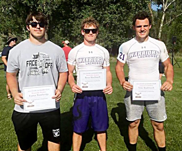 Three members of the Watertown Warriors varsity lacrosse team have been named to the Northern Plains LaCrosse All-State team. The honorees include, from left, Carter Trowbridge, Ryan MacDonell and Tyler Rudebusch. Rudebusch earned first-team All-State honor as a long-stick midfielder. Trowbridge (goalie) and MacDonell (attack) each received honorable mention All-State.