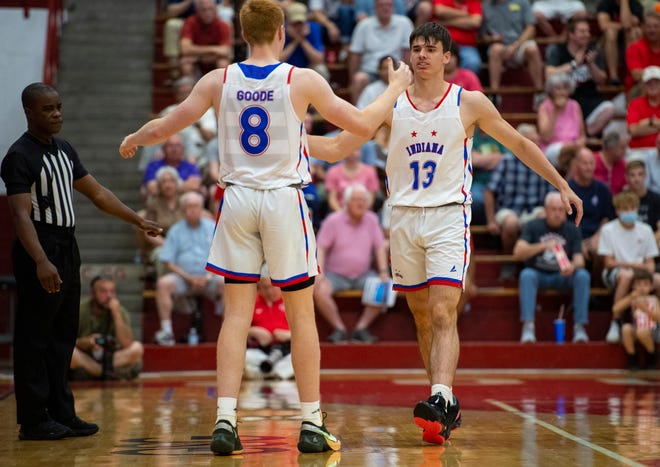 Indiana All-Star Brooks Barnhizer, from Lafayette Jeff High School (13), leaves the court after scoring a goal during the first half of a boys' Indiana Kentucky All-Star basketball game at Southport High School, Saturday, June 12, 2021, in Indianapolis.