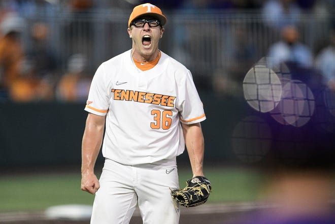 Tennessee's Chad Dallas (36) reacts after outing an LSU player at the NCAA Baseball Knoxville Super Regionals at Lindsey Nelson Stadium in Knoxville, Tenn. on Saturday, June 12, 2021.
