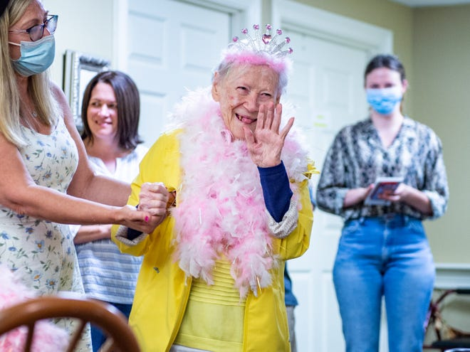 Ms. Daphne Musso a resident at Camelot of Broussard and a U.S. Marine celebrated her 100th birthday surrounded by friends and family Friday, June 11, 2021.