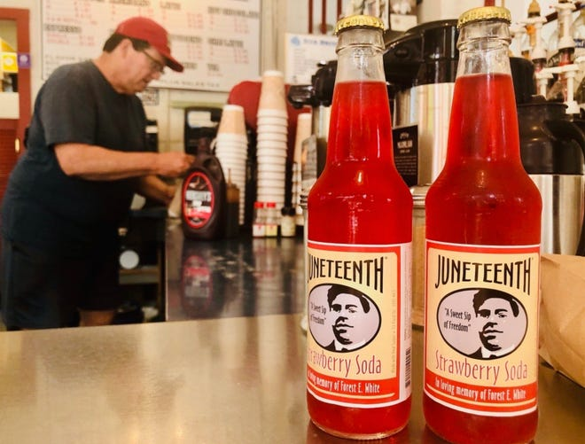 Sherman Perk, 4924 W. Roosevelt Drive, sells Juneteenth strawberry soda as a fundraiser for the Milwaukee Times newspaper. The soda sells for $2.50 a bottle.