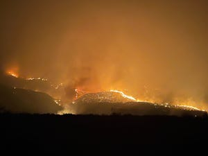 The Pinnacle Fire burns west of Safford on June 13, 2021.