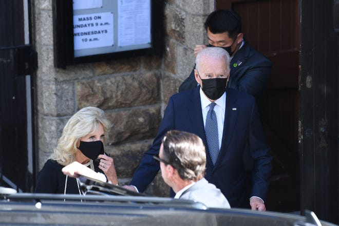 President Joe Biden and US First Lady Jill Biden leave the church on June 13, 2021 in St Ives, Cornwall.