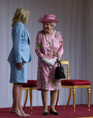 Queen Elizabeth II chats with Jill Biden at Windsor Castle on June 13, 2021.