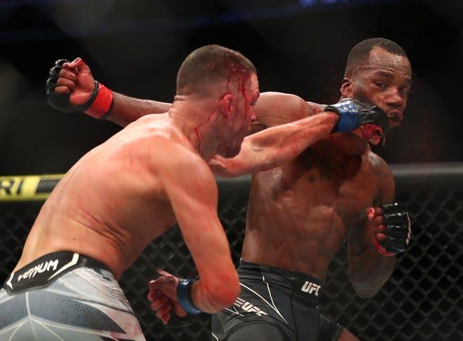 Nate Diaz lands a hit against Leon Edwards during UFC 263 at Gila River Arena.