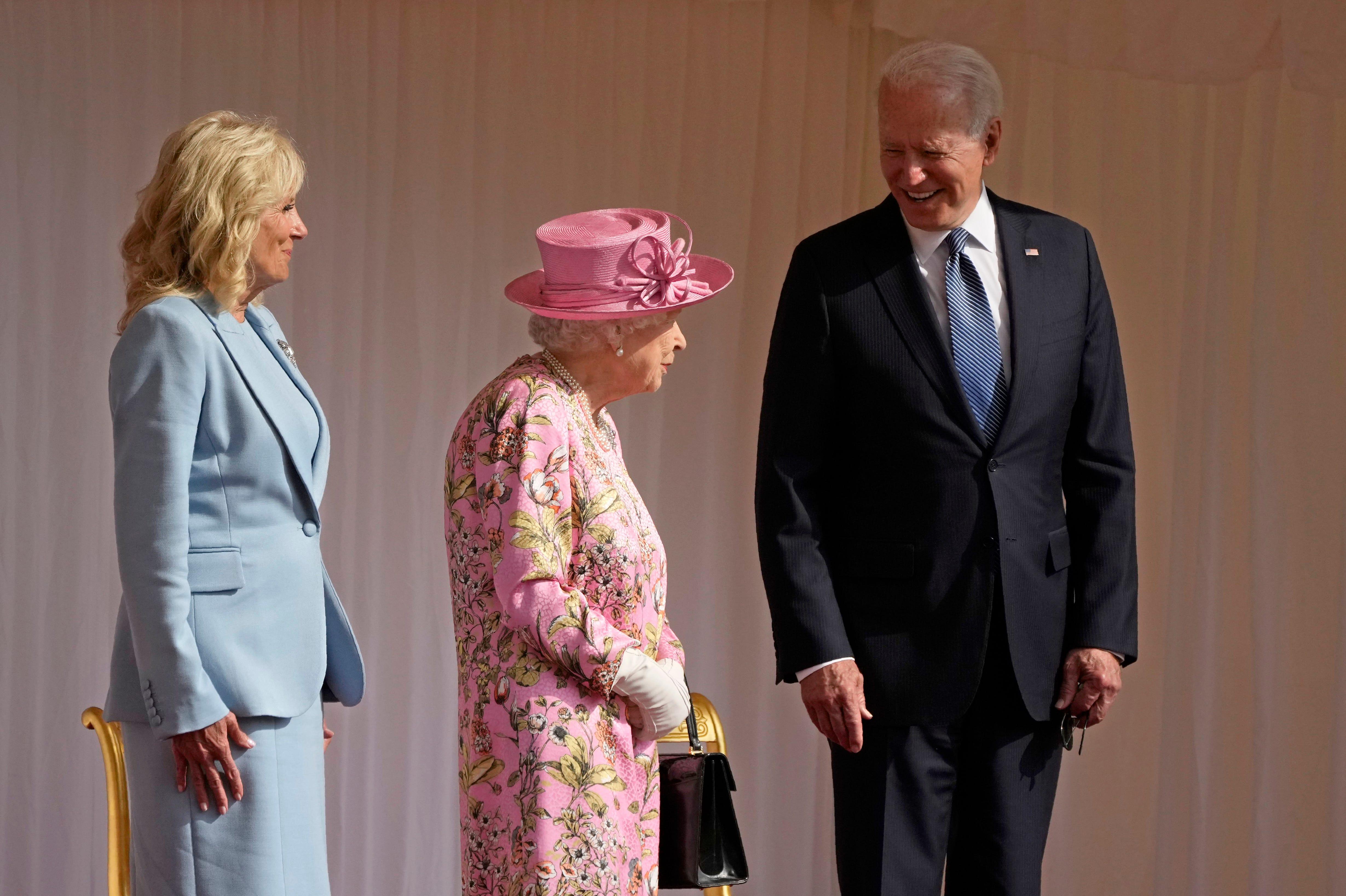 Queen Elizabeth II welcomes President Joe Biden and wife Jill for tea