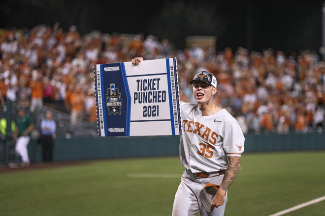 Tristan Stevens celebrates Sunday's 12-4 super regional  win over South Florida at UFCU Disch-Falk Field. The win sent the Longhorns to the College World Series for a record 37th time.