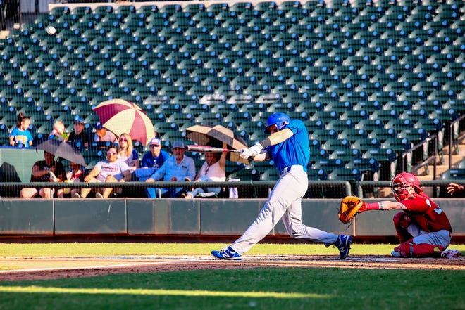 Georgetown slugger Bo Dinscore launches a three-run home run in the bottom of the first inning during the AABCA All-Star game Sunday at Dell Diamond. The game featured senior stars from Central Texas high schools.