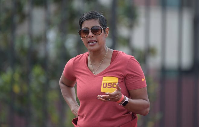 Mar 18, 2017; Los Angeles, CA, USA; Southern California Trojans coach Caryl Smith Gilbert reacts during the Trojan Invitational at Cromwell Field.