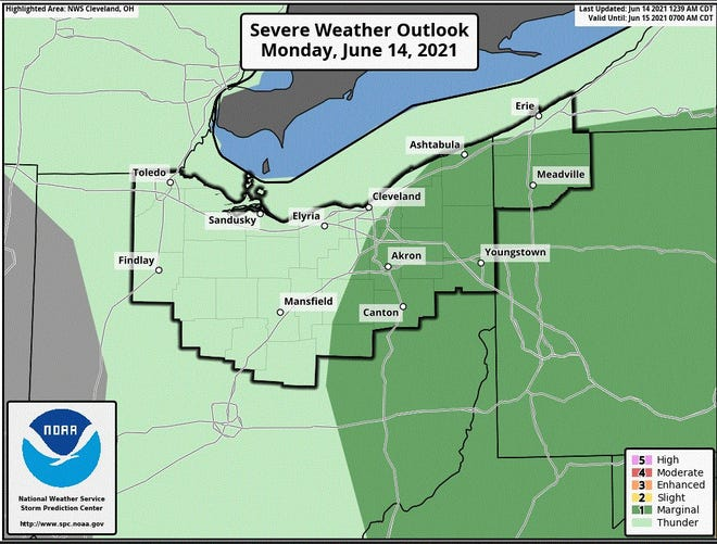 Severe thunderstorms are possible in parts of northern Ohio on Monday afternoon.