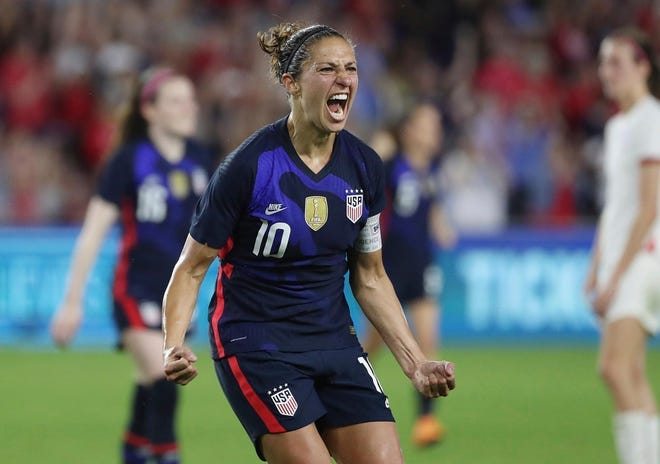 United States' Carli Lloyd celebrates after scoring a goal against England during a She Believes soocer match on March 5, 2020.