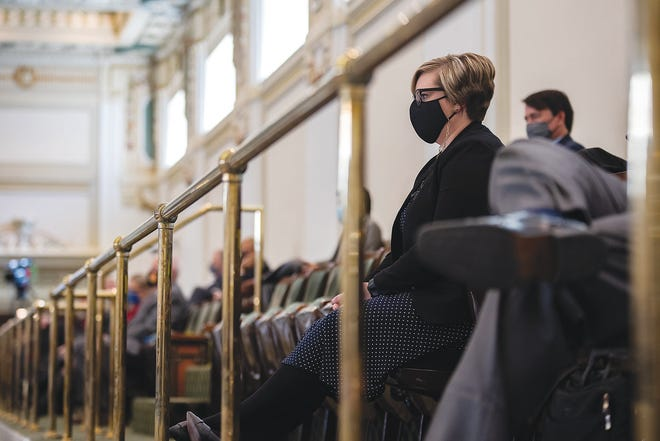 House Minority Leader Emily Virgin, D-Norman, watches from the gallery as Gov. Kevin Stitt gives his third State of the State address at the Capitol on Feb. 1, 2021.