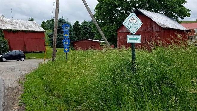 This sign located just west of Barnesville-Bradfield Airport is one of many in western Belmont County marking the new backroad tours