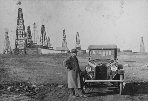 Between 1910 and 1920 where Mr. and Mrs. Eliga Carter at Gordon oil field, El Dorado, Kansas.