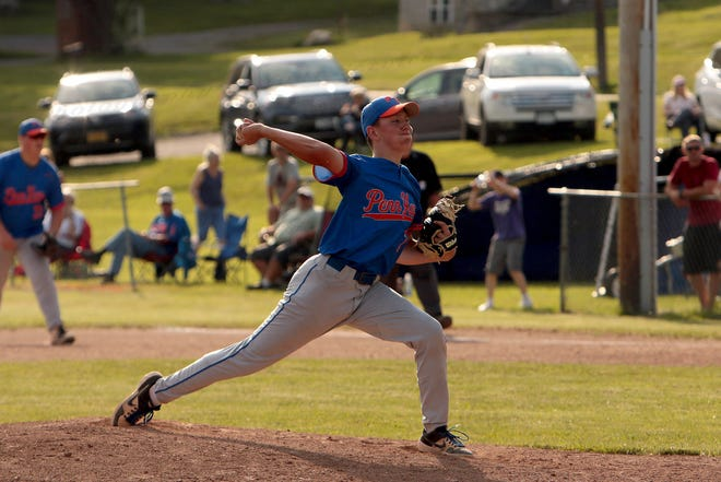 Penn Yan's # 2 Brady Bouchard in his delivery from the mound.