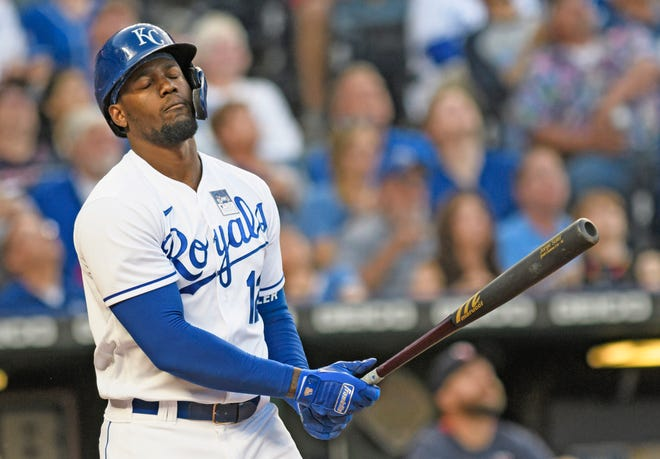 Kansas City Royals' Jorge Soler shows disappointment after hitting a fly ball which was caught by the Minnesota Twins during the clubs' Thursday, June 3, Major League Baseball game at Kansas City. Soler, who broke the team record for home runs last year, had a batting average under .180 at the start of this week. ( REED HOFFMAN / AP PHOTO )