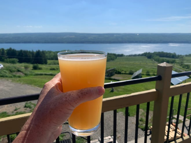 This beer from Two Goats Brewing, Golden Crush New England IPA, was enjoyed on a sunny day from a perch overlooking Seneca Lake in central New York.
