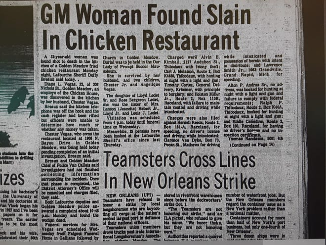 Photo of the Daily Comet article about Diane Vegas' shooting death on Oct. 11, 1977.