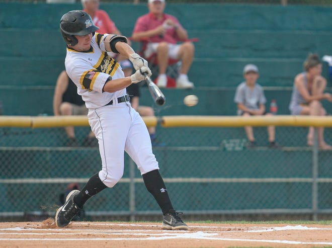 Leesburg's Chase Malloy (10) gets a hit against the Sanford River Rats in an FCSL game on June 8 at Pat Thomas Stadium-Buddy Lowe Field. [PAUL RYAN / CORRESPONDENT]