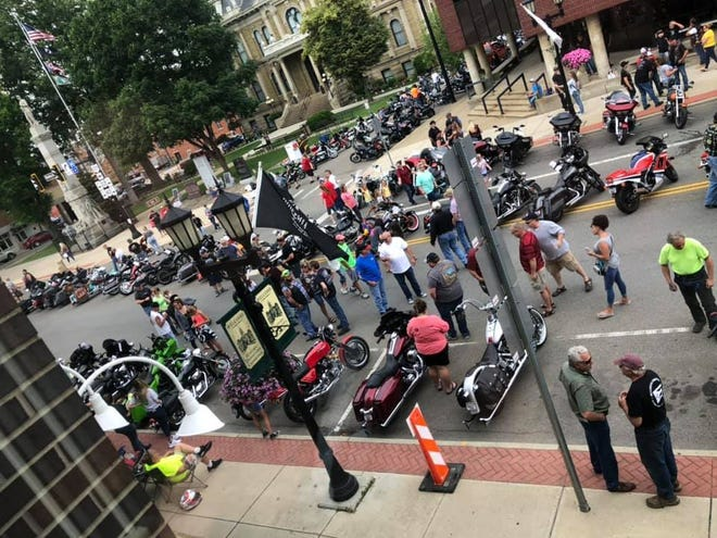 Crowds walk among the bikes during the 2019 National Road Bike Show and Ribfest. The event returns this year and will be held from 11 a.m. to 7 p.m. Saturday on Wheeling Avenue.