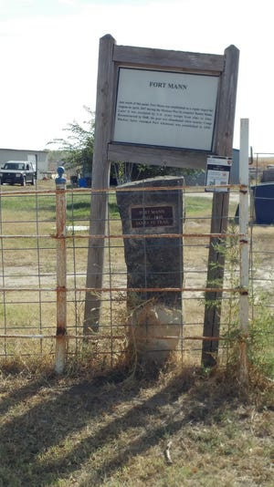 The limestone marker, plaque and storyboard about Fort Mann is located on the west edge of Dodge City on the south side of Kettle Way about three-quarters of a mile from the end of the street.