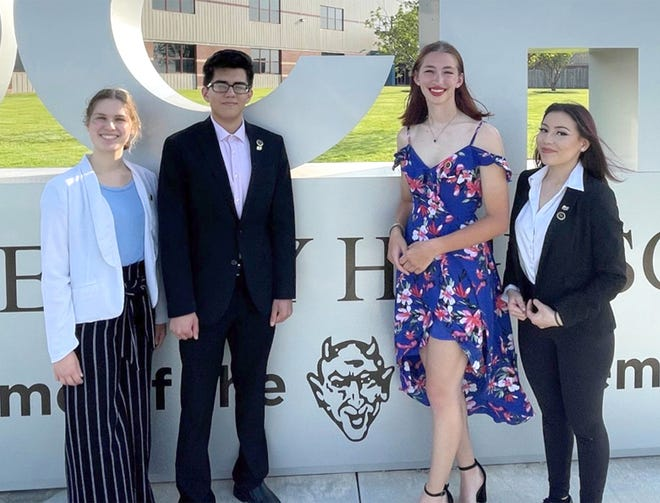Dodge City High School students Rebekah Mazza, Hever Arjon, Allison Haselhorst and Alicia Santos are competing in the 2021 National Speech and Debate Association National Championship virtual competition this week.