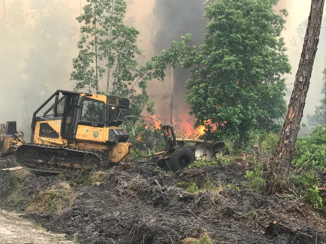 Florida Forest Service continues to work a wildfire that started burning on Possum Camp Road near New Smyrna Beach on Saturday. An accurate mapping showed the fire destroyed 1,675 acres, a Florida Forest Service official said Monday.