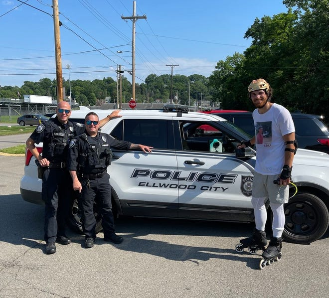 Wampum native and Dallas Stars player Stephen Johns (right) announced his retirement from the NHL this week and the start of a cross-country journey to help advocate for mental health. He was escorted through Ellwood City Monday by Ellwood City Police Department officers Kennedy and Sipe.