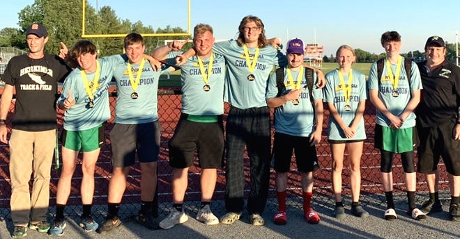 Herkimer shared Section III's Class C-1 track and field Championship with Tully Wednesday at South Lewis High School. This is the first time in more than 30 years that the Magicians have won a sectional team title. Senior Gaven Miller won the long and triple jumps, and placed second in the 200-meter dash, classmate Jesse Richard won the 400-meter hurdles and placed second behind junior teammate Brian Reile in the 110-meter hurdles, senior Aidan Ploss won the shot put and placed second behind classmate Ethan Austin in the discus, and freshman Peter Mosny ran the winning four-by-400-meter relay with Jesse Richard, Joaquin Nietes, Noah Lewis. Pictured are coach Scott Clarke, individual medalists Mosny, Austin, Ploss, Reile, Jesse Richard, Melia Couchman (winner of the girls' pole vault) and Miller, and coach Jason Richard (from left).