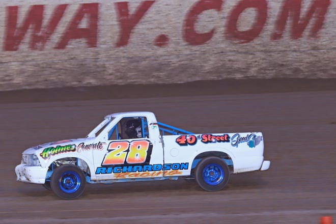 Tucker Richardson, a 14-year-old from Morning Sun, won the min-haulers feature race Saturday night at 34 Raceway.