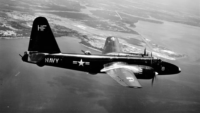 A U.S. Navy P2V2 Neptune, similar to the one that crashed, flies over Naval Air Station Jacksonville.