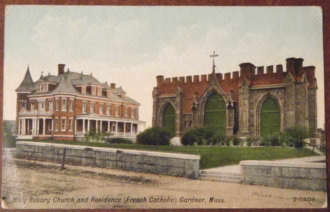 Holy Rosary Church and rectory as seen in the early 1900s, prior to the erecting of the 110-foot Romanesque tower, in Gardner.