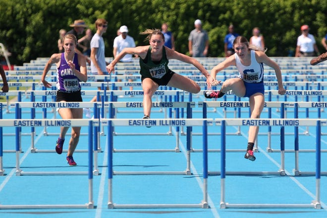 Ali Rapps finishes second in the 100 high hurdles in a time of 14.92 at the State Track Meet. She also finished third in the 300m hurdles in 4.08. Both races were personal bests for Rapps.