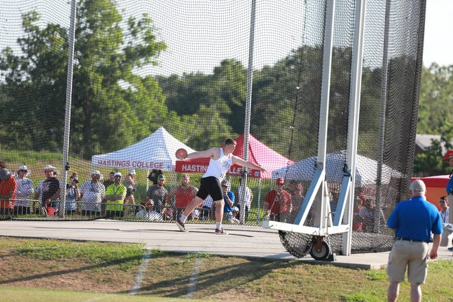 Josh Mathis won the discus competition at the NAIA Championship Competition held at Gulf Shores, AL.